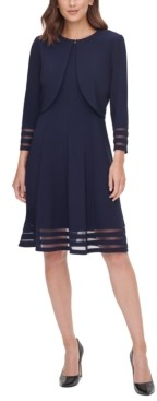 Jessica Howard Petite Illusion-Stripe Jacket & Dress
