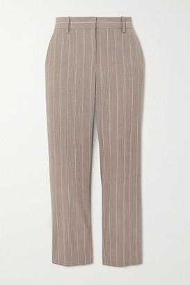 Theory Cropped Pinstriped Wool-blend Slim-leg Pants - Beige