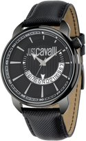 Roberto Cavalli Just Cavalli Men's Earth Analogue Watch R7251181025 with Quartz Movement, Leather Bracelet and Black Dial