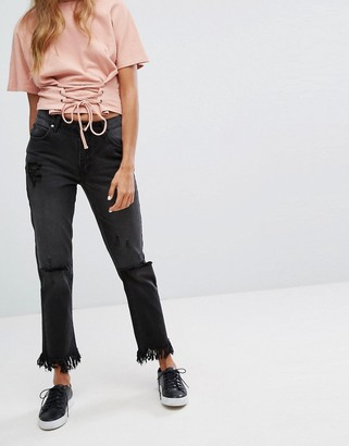 MinkPink Rough Night Cut Off Jean