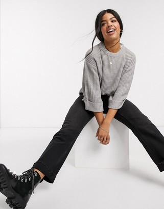 Brave Soul torre boxy crew neck jumper with cuff detail