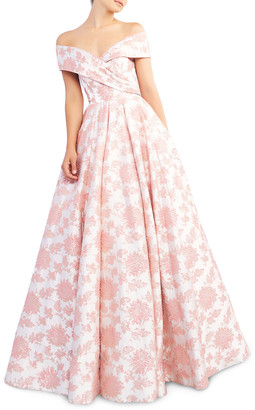 Mac Duggal Floral-Print Draped Off-The-Shoulder Short-Sleeve Ball Gown