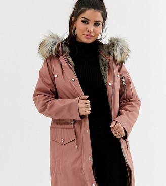 Asos DESIGN Petite parka with detachable faux fur liner