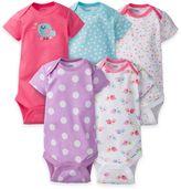 Gerber ONESIES® Newborn 5-Pack Bird Short Sleeve Bodysuits in Pink