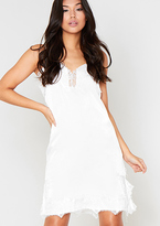 Missy Empire Kiko White Satin Lace Slip Dress