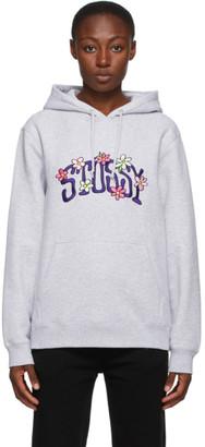 Stussy Grey Floral Collegiate Hoodie