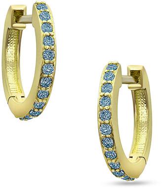 Dominique Cohen 18k Yellow Gold Blue Diamond Huggie Hoop Earrings