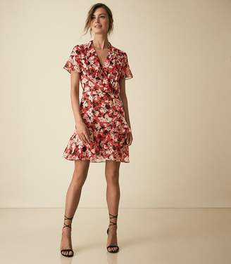 Reiss Marseille - Floral Printed Mini Dress in Red