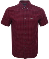 Lacoste Short Sleeved Check Shirt Red