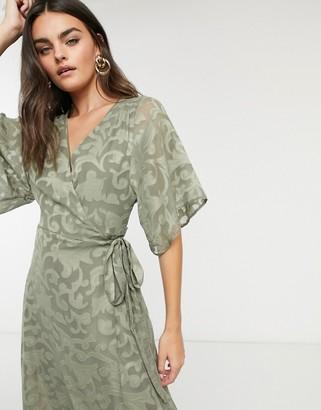 Liquorish burnout wrap dress in khaki