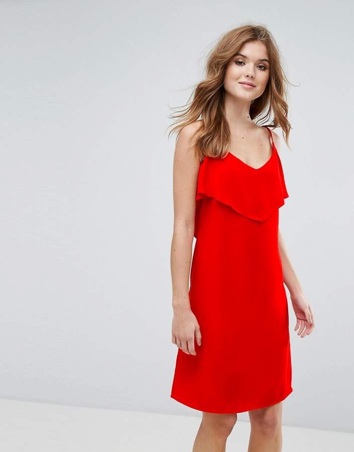 Lavand Cami Dress With Frill Overlay