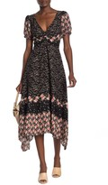 Luna Chix Lunachix Cinch Bust Dual Print Asymmetrical Hem Midi Dress