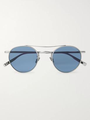 Garrett Leight California Optical + Rimowa Wilson 49 Limited Edition Round-Frame Silver-Tone Sunglasses