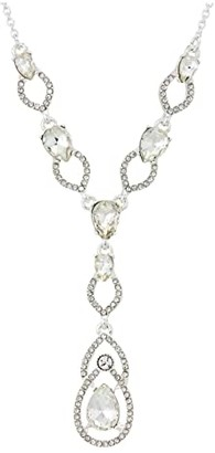 Lauren Ralph Lauren 16 Pave Teardrop Y-Necklace (Silver) Necklace