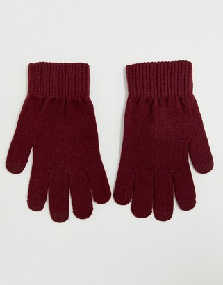 Asos Design DESIGN touch screen gloves in recycled polyester in red
