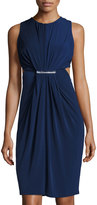 Catherine Malandrino Cutout Crewneck Ruched Dress, Moonlit Night