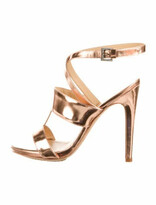 Thumbnail for your product : Aperlaï Patent Leather Sandals Gold