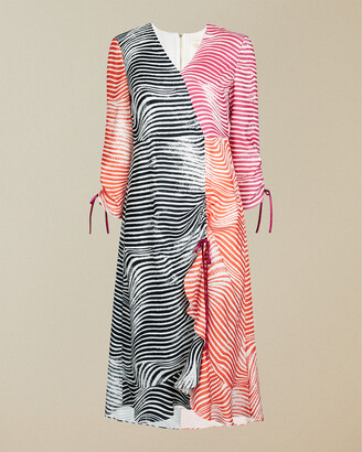 Ted Baker WIZZOH Zebra print rouche detail dress