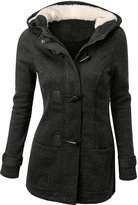 URqueen Women's Hooded Horn Button Wool Pea Coat Jacket M