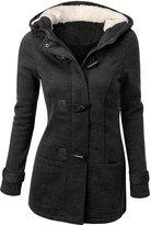 URqueen Women's Hooded Horn Button Wool Pea Coat Jacket S