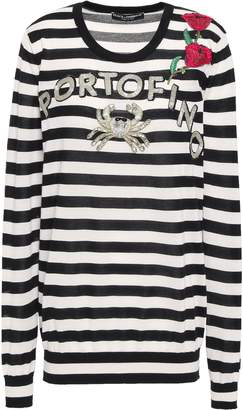 Dolce & Gabbana Embellished Striped Cashmere And Silk-blend Sweater
