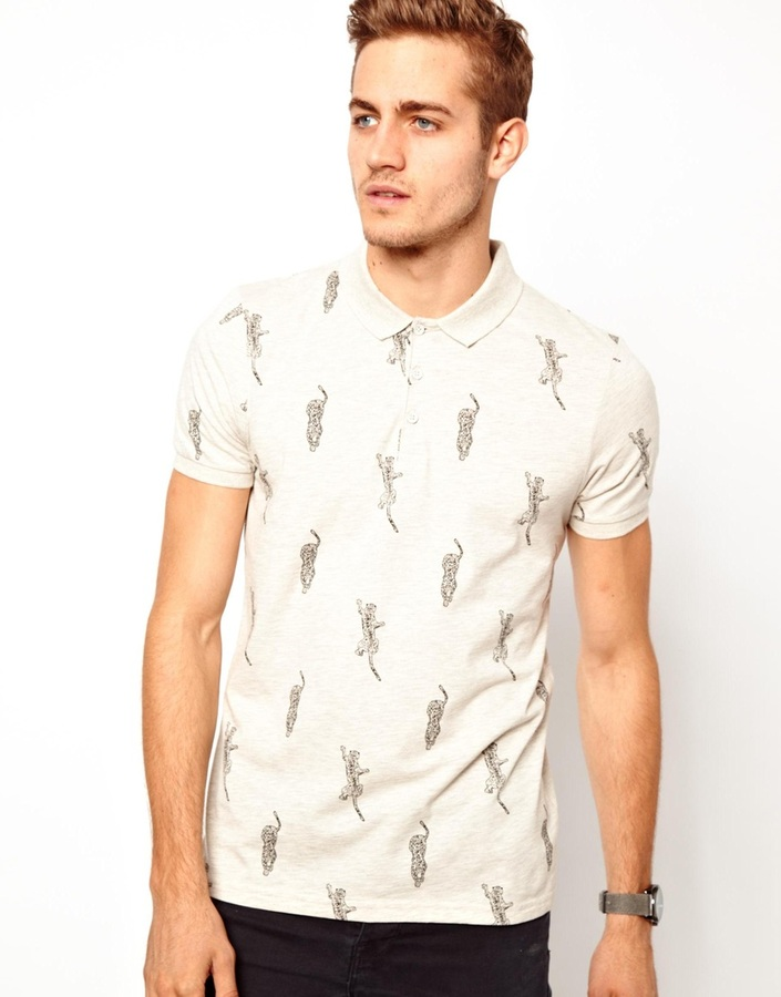 Asos Polo With Leopard Print