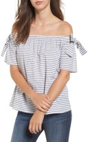 Soprano Women's Stripe Cotton & Linen Off The Shoulder Top