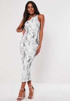 Missguided Gray Statue Print One Shoulder Bodycon Midi Dress
