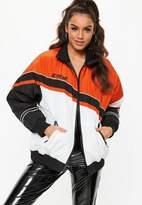 Missguided Orange Speed Racing Padded Windbreaker Jacket