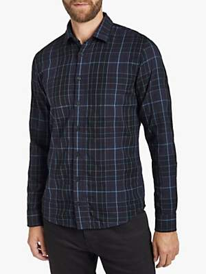 HUGO BOSS BOSS Mypop Check Print Slim Fit Shirt, Black