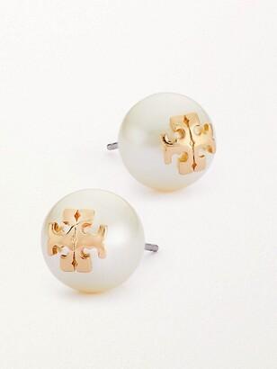 Tory Burch Crystal-Pearl Yellow Goldtone Logo Stud Earrings