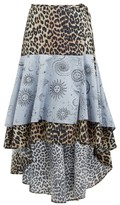 Ganni Leopard And Moon-print Dip-hem Cotton Skirt - Womens - Blue Multi