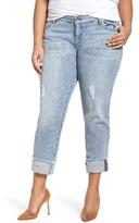 KUT from the Kloth Plus Size Women's Catherine Fray Hem Distressed Boyfriend Jeans