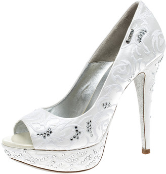 Loriblu White Embroidered Satin Swarovski Crystal Embellished Peep Toe Platform Pumps Size 36.5