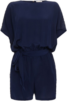 Tory Burch Belted Guipure Lace-trimmed Silk-crepe Playsuit