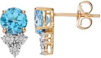 10k Gold Swiss Blue Topaz & White Topaz Earrings
