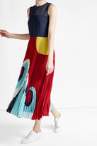 RED Valentino Printed Dress with Pleated Skirt