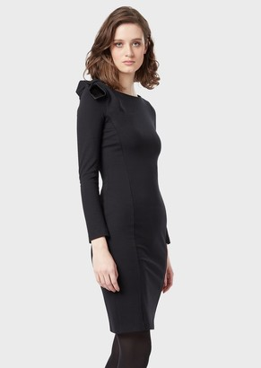 Emporio Armani Tube Dress In Milano Stitch With Bow On The Shoulder