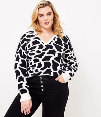 LOFT Plus Giraffe V-Neck Sweater