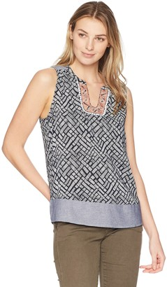 Tribal Women's Sleeveless Top with Embroidered Placket