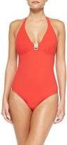 Tory Burch Logo One-Piece Swimsuit, Poppy Red
