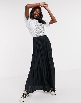 Asos DESIGN pleated maxi skirt in black