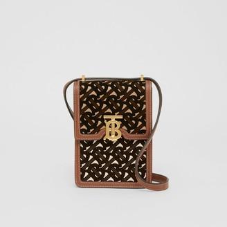 Burberry Monogram Flocked Leather Robin Bag