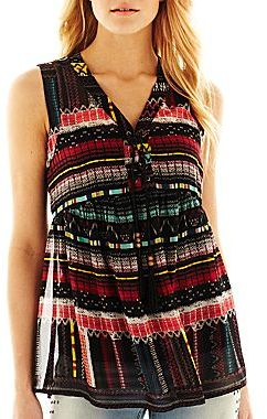 Allen B. Print Tank Top with Front Lacing