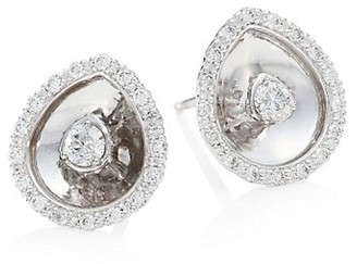 Plevé Aura 18K White Gold & Diamond Pear Stud Earrings