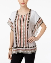 JM Collection Petite Printed Butterfly-Sleeve Tunic, Created for Macy's