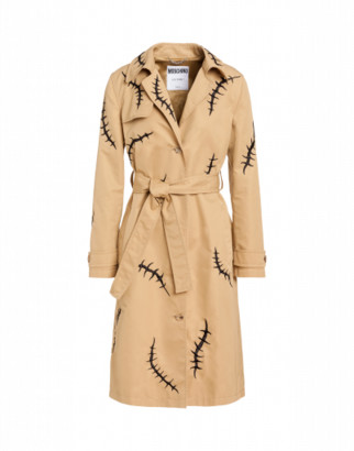Moschino Scars Gabardine Trench Woman Beige Size 40 It - (6 Us)