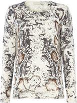 Oui Snakeprint scoopneck sweater