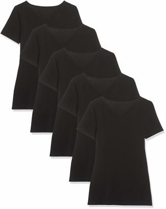 Maglev Essentials Damen T-Shirt Mit V-Ausschnitt 5er-Pack Black Schwarz) 16 (size: X-Large) Pack of 5