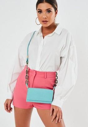 Missguided Blue Textured Chain Strap Shoulder Bag